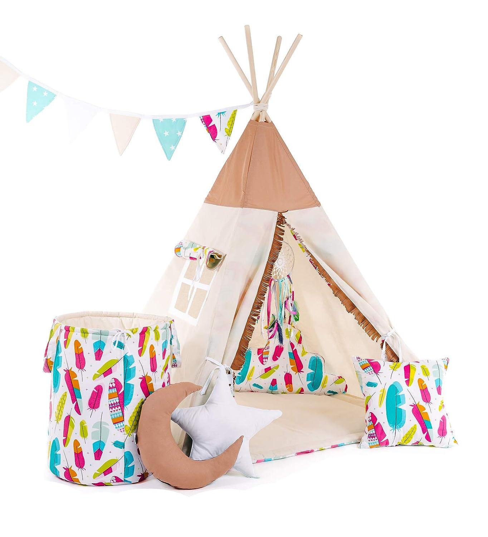 Tipi mit 8 Elementen, Braun - Pocahontas Indianerzelt Tipi Set f/ür Kinder Spielzeug drinnen drau/ßen Spielzelt Zelt mit Korb Tipi-Set Indianer Indianertipi