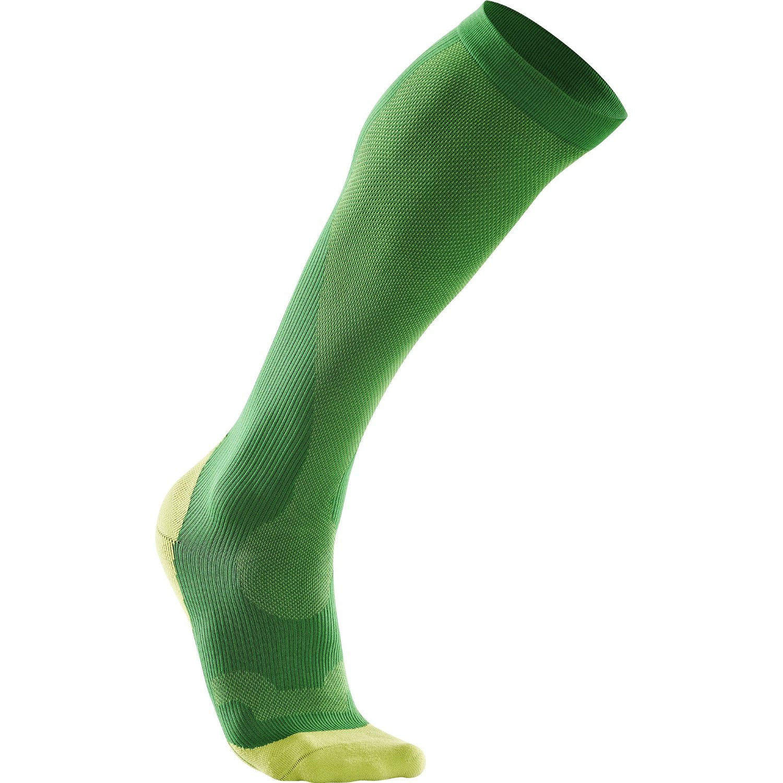 2XU Men's Performance Compression Run Sock, Fern Green/Lime Green, X-Small