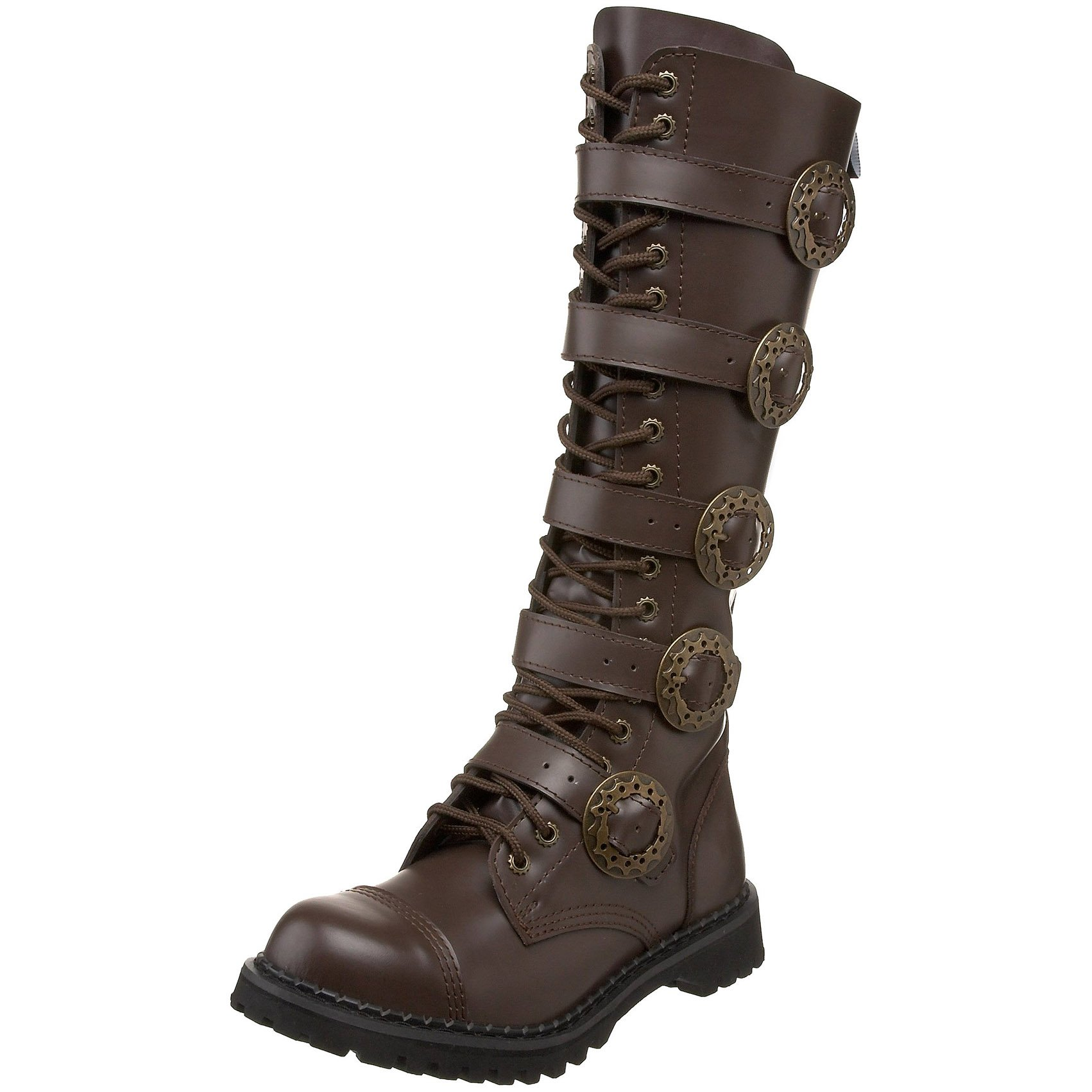 MENS SIZING Knee High Boots Brown Combat Boots Steampunk Hardware Size: 4