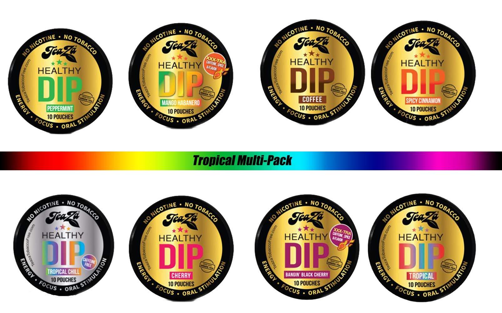 TeaZa Energy Multi Pack- 8 Smokeless Tobacco Alternative, Nicotine, Sugar, Gluten Free by TeaZa