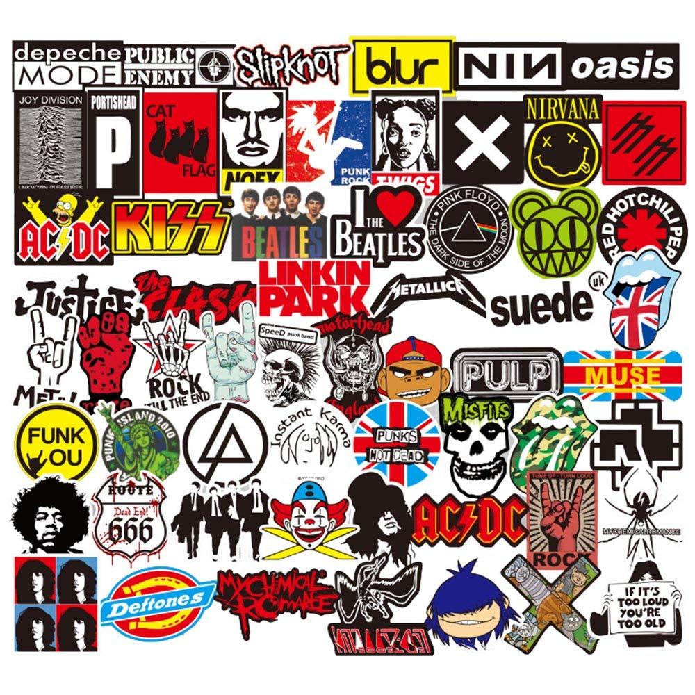Sanmatic Rock and Roll Aufkleber 100 Stü cke, Aufkleber Bombe Pack fü r Gitarre Trommel Kopfhö rer Laptop Musik Aufkleber (Rock and Roll Aufkleber)