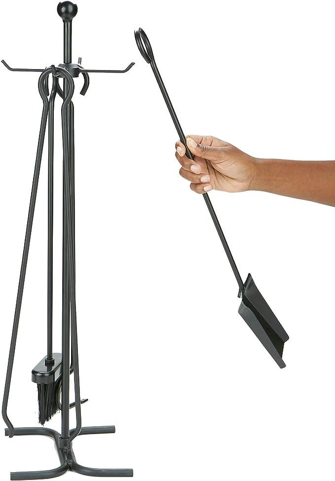 FPT014  24x24cm; Tongio 3 piece Fire Tool set w Stand; Black