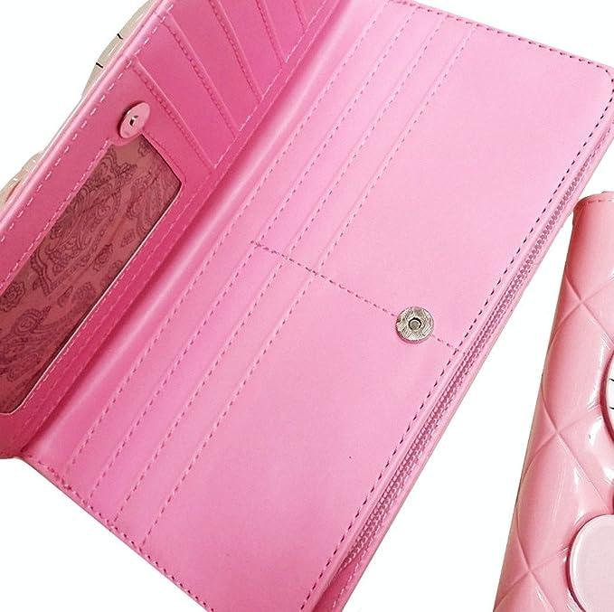 9c831ab5e Mujeres Niñas Rosa Giratoria Espejo Hello Kitty Cartera de piel sintética  Monedero Embrague Bolso Titular de la tarjeta clip de dinero Rosa rosa 19x9  cm: ...