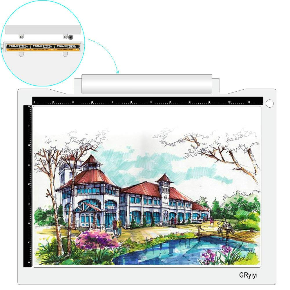 Portable A4 LED Light Box Wireless Artcraft Tracing Light Pad Battery or USB Cable Powered 5600 Lux LED Light Table,Gryiyi Tracing Light Boxes for Diamond Painting Artists Drawing X-ray Viewing by GRyiyi
