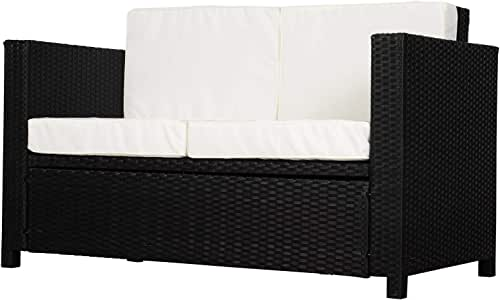 Outsunny Outdoor Wicker Loveseat 2-Seater Rattan Corner Sofa Couch with Padded All-Weather Cushion