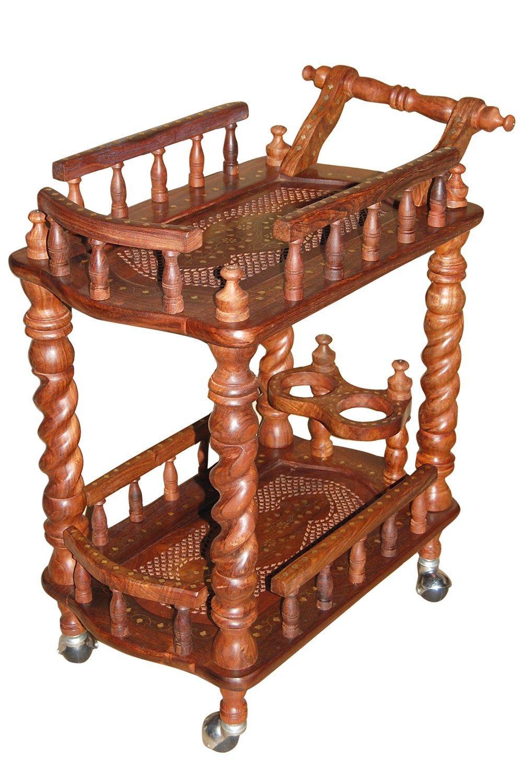 Artesia wooden carved service trolley/bar trolley/kitchen trolley