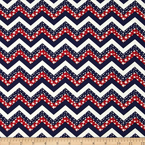 Santee Print Works Made in The USA Chevron & Stars Red White Blue Fabric by The Yard ()