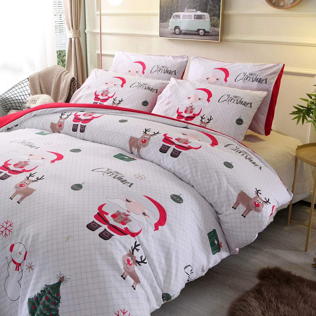 WINLIFE 2PCS Soft Microfiber Duvet Cover Set for Kids Santa Claus Print Bedding Twin White