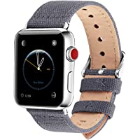 Fullmosa Compatibile Cinturino Apple Watch 44mm 42mm 40mm 38mm,8 Colori Canvas Nato Stile per Cinturino Iwatch Compatibile con Apple Watch Series 4 (44mm 40mm) Series 3,2,1 (42mm 38mm),42mm Grigio
