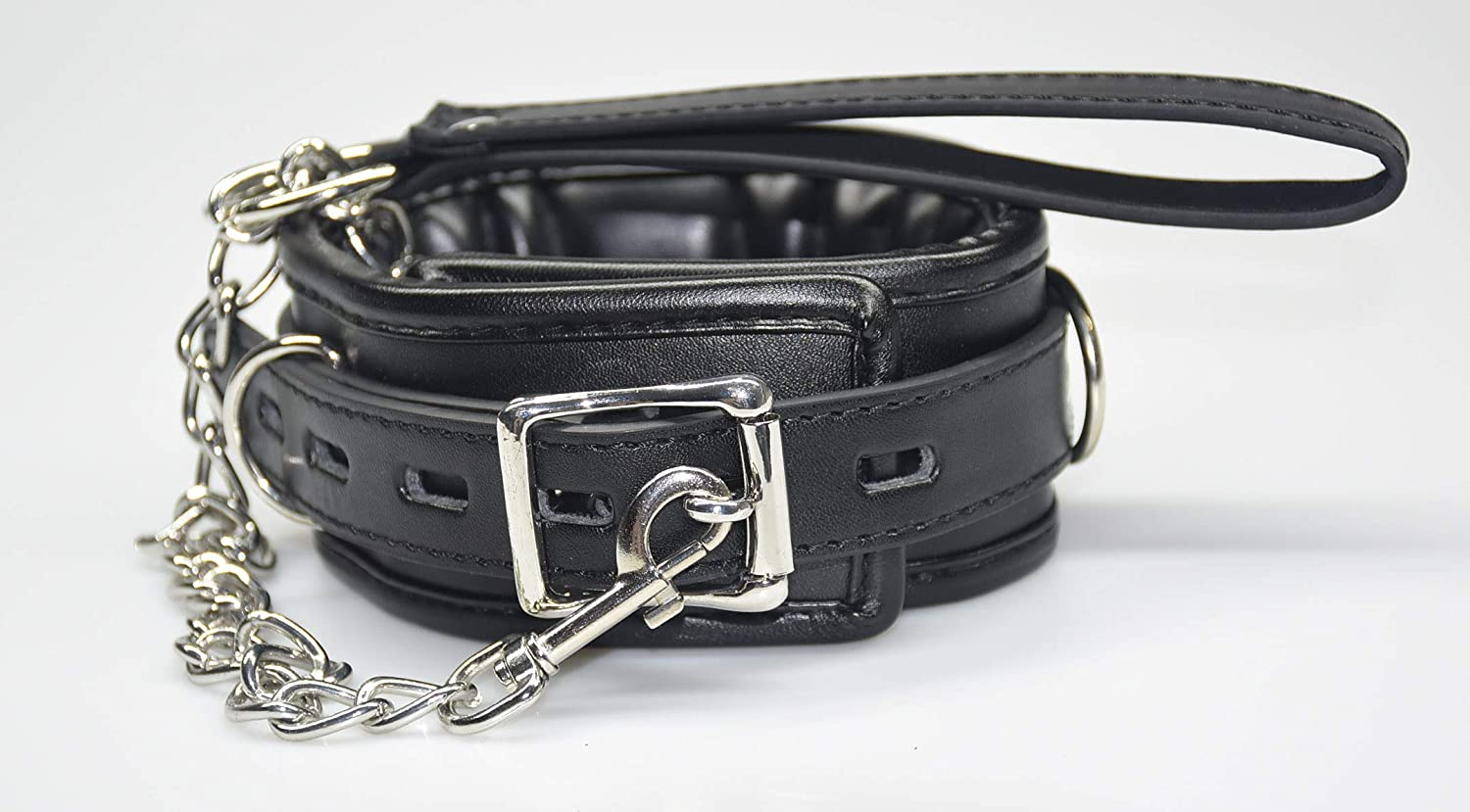 Hxiu Leather Collar with Heavy Metal Choker,6 Progressive and Adjustable Levels With Handle Black