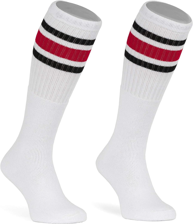 4 Pairs Black Tube Socks Striped 22 Inches Long Old School Cotton Socks
