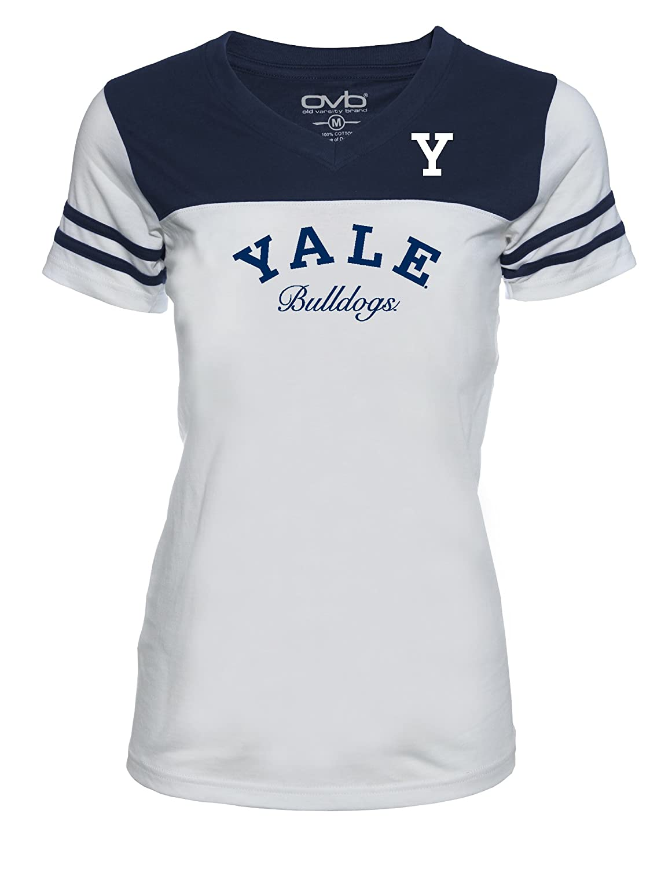 Large White//Navy Old Varsity Brand NCAA Yale Bulldogs Womens JRS Football T-Shirt