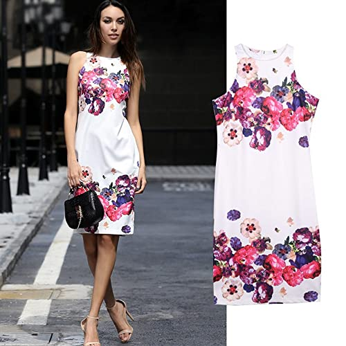 Yagoor Women's Summer Casual Crew Neck Floral Print Sleeveless Sheath Dress