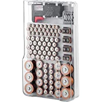 Battery Organizer Storage Case with Hinged Clear Cover, Includes a Removable Battery Tester, Holds 93 Batteries Various…