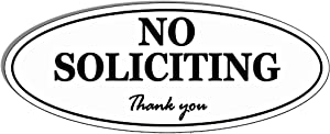 "Oval NO Soliciting Sign - Self Adhesive 2"" x 5"" 4 Mil Vinyl Decal -Indoor & Outdoor Use, Home & Business UV Proof & Waterproof Window & Door Decal"