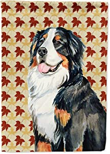 Caroline's Treasures LH9109GF Bernese Mountain Dog Fall Leaves Portrait Flag Garden Size, Small, Multicolor
