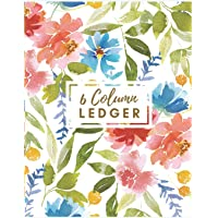 6 Column Ledger: Red Floral Watercolor Accounting Journal Columnar Pad Record Book Accounting Ledger Notebook Business Bookkeeping Home Office School.