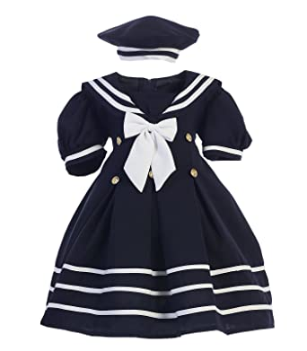 22df4610f Amazon.com  Girl Nautical Sailor WHITE NAVY S-4T Dress Outfit w  Hat ...