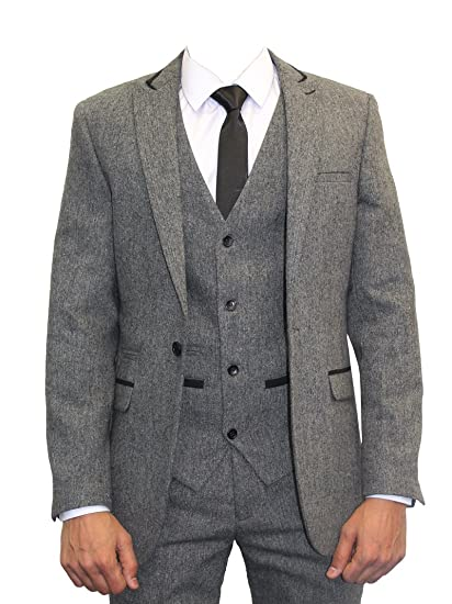 Marc Darcy Mens Vintage Tweed 3 Piece Suit Mason Grey Amazon Co