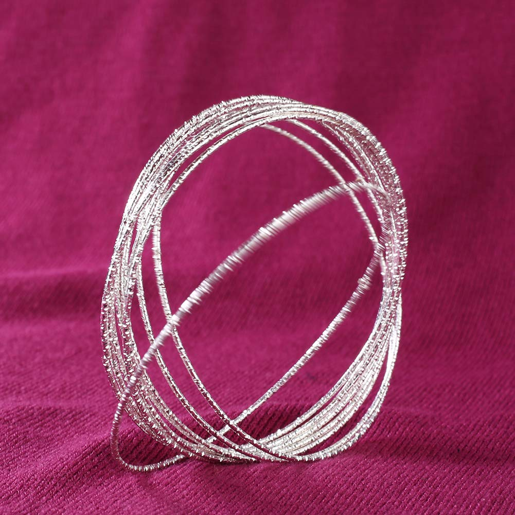 gu6uesa8n10Pcs Women Fashion Etched Dimpled Circle Bangles Bracelets Jewelry Gift