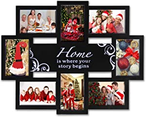 JERRY & MAGGIE - Photo Frame 22x17 Black Frame Home Union Theme Picture Frame Selfie Gallery Collage Wall Hanging for 6x4 Photo - 8 Photo Sockets with Middle Art Bar Decor - Wall Mounting Design