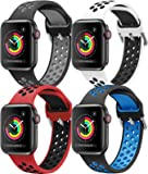 HLTEK Correa Compatible para Apple Watch 44mm 42mm 40mm 38mm, Suave Silicona Reemplazo Pulseras para iWatch Series 6/5/4…