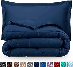 Bare Home Comforter Set - Full/Queen - Goose Down Alternative - Ultra-Soft - Premium 1800 Series - Hypoallergenic - All Season Breathable Warmth (Full/Queen, Dark Blue)