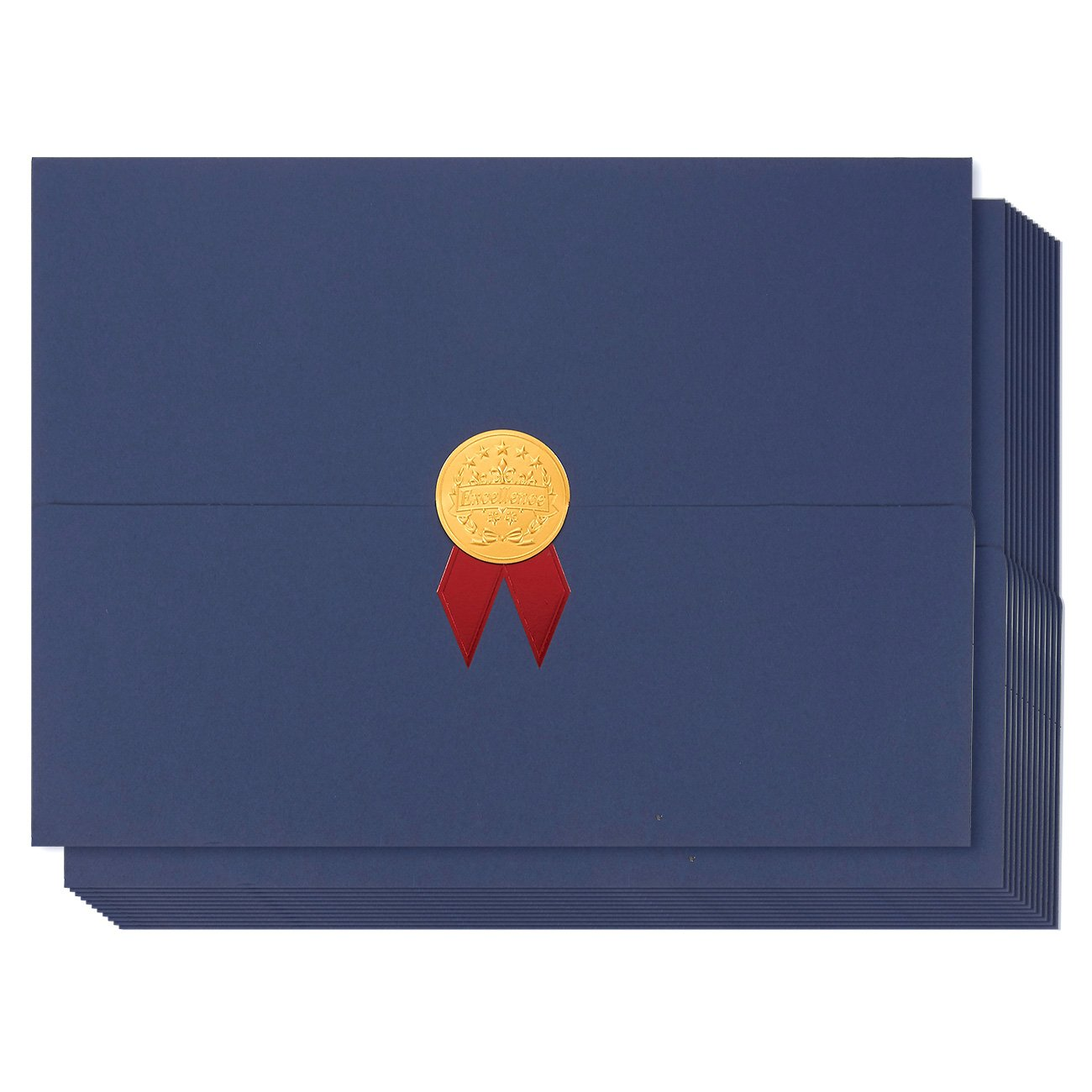 12-Pack Certificate Cover - Diploma Cover, Document Cover for Letter-Sized Award Certificates, Blue, Gold Foil, Red Bow, 12.5 x 9.2 inches