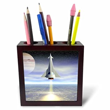 3dRose ph/_19418/_1 Rocket Launch Space Travel to Distant Planets in This Modern Space Craft Tile Pen Holder 5-Inch