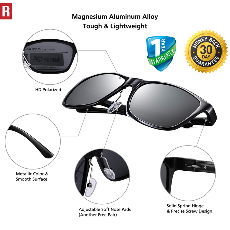 ROCKNIGHT Al-Mg Metal HD Driving UV400 Polarized Sunglasses for Men Women Lightweight Outdoor Sunglasses for Medium/&Big Head