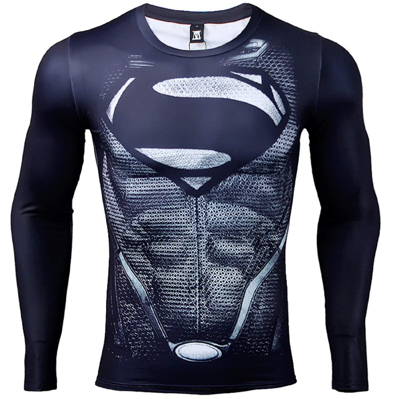 Coolmax Long Sleeve Black Superman Compression Shirts Men 3d Printed
