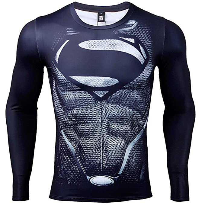 c2247f7481 COOLMAX Long Sleeve Black Superman Compression Shirts Men 3D Printed T- Shirts (XXX-