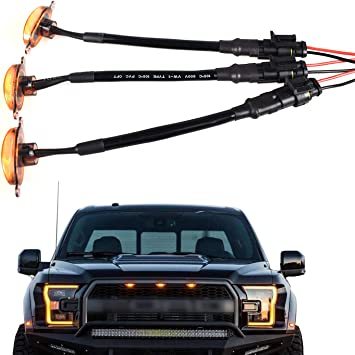 BASIKER Auto Front Grille Lights for 2004-2019 Ford F150 Raptor F250 External White LED Lights Decoration 3 Pack Black Lens
