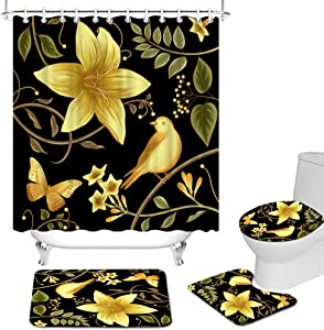 RyounoArt 4Pcs Black and Gold Shower Curtains Set Bright Yellow Lily Flower Bird Butterfly Bathroom Shower Curtain Rustic Garden Shower Curtain with Non-Slip Rug Toilet Lid Cover and Bath Mat
