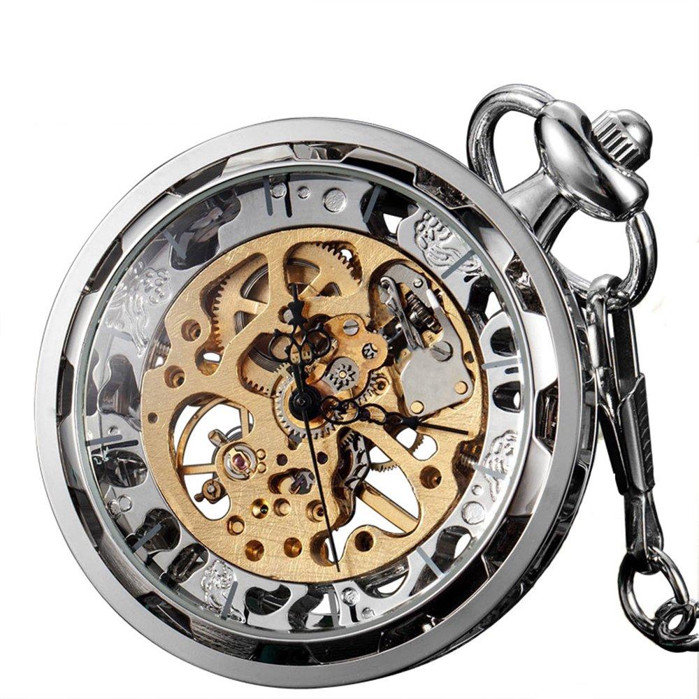 ZIJAE Antique Skeleton Full Stainless Steel Open Face Glass Case Mechanical Hand Winding Mens Pocket Watch