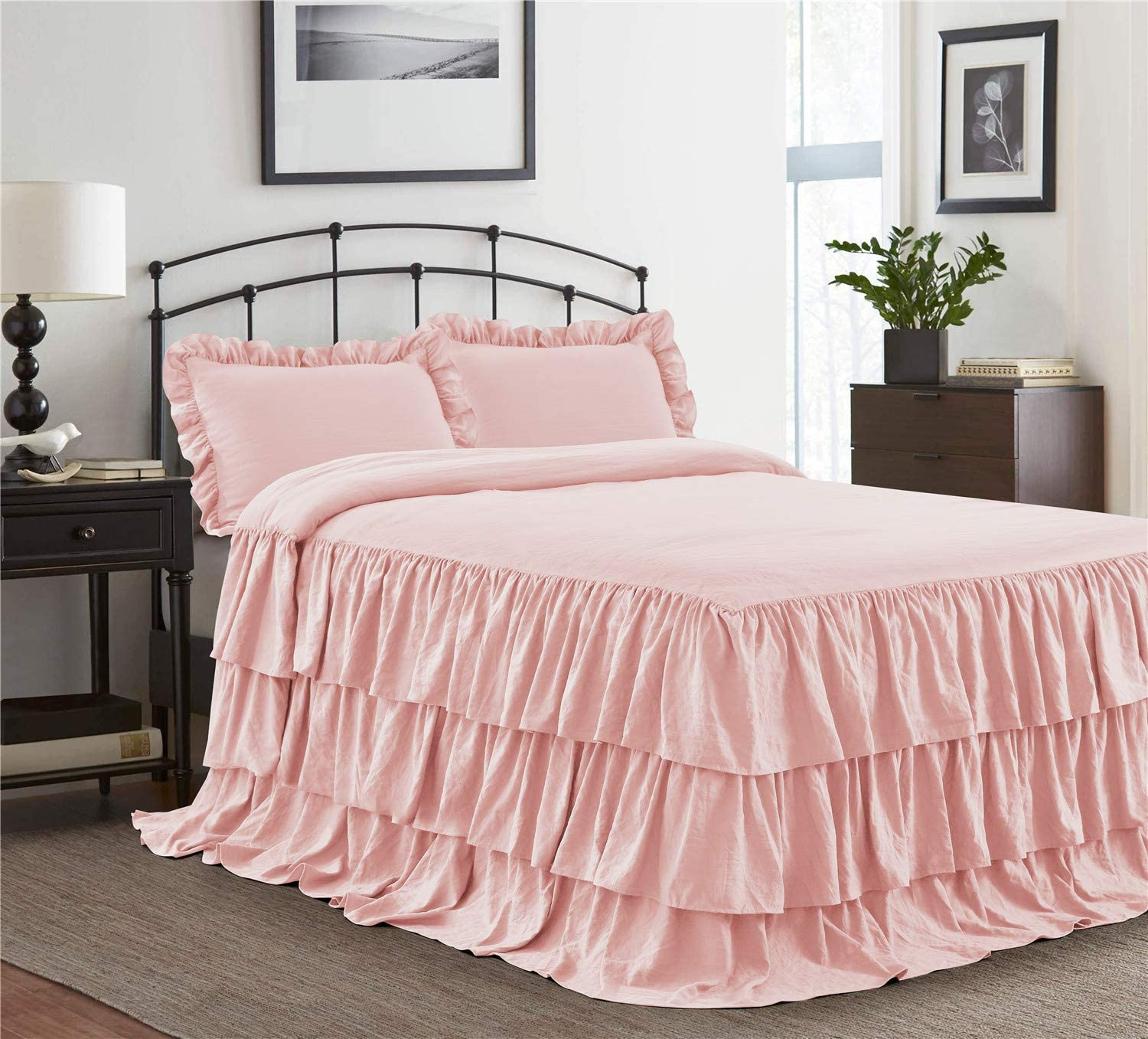 HIG 3 Piece Ruffle Skirt Bedspread Set King-Peach Pink Color 30 inches Drop Ruffled Style Bed Skirt Coverlets Bedspreads Dust Ruffles- Echo Bedding Collections King Size-1 Bedspread, 2 Standard Shams