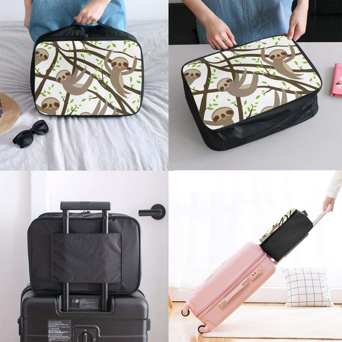 Cute Sloth Travel Carry-on Luggage Weekender Bag Overnight Tote Flight Duffel In Trolley Handle