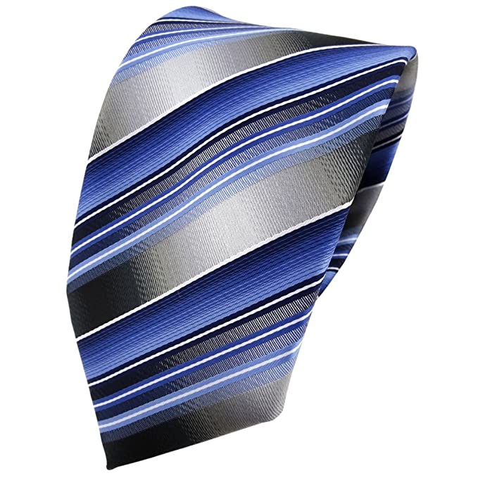 TigerTie - Corbata - azul claro plata antracita gris rayas: Amazon ...
