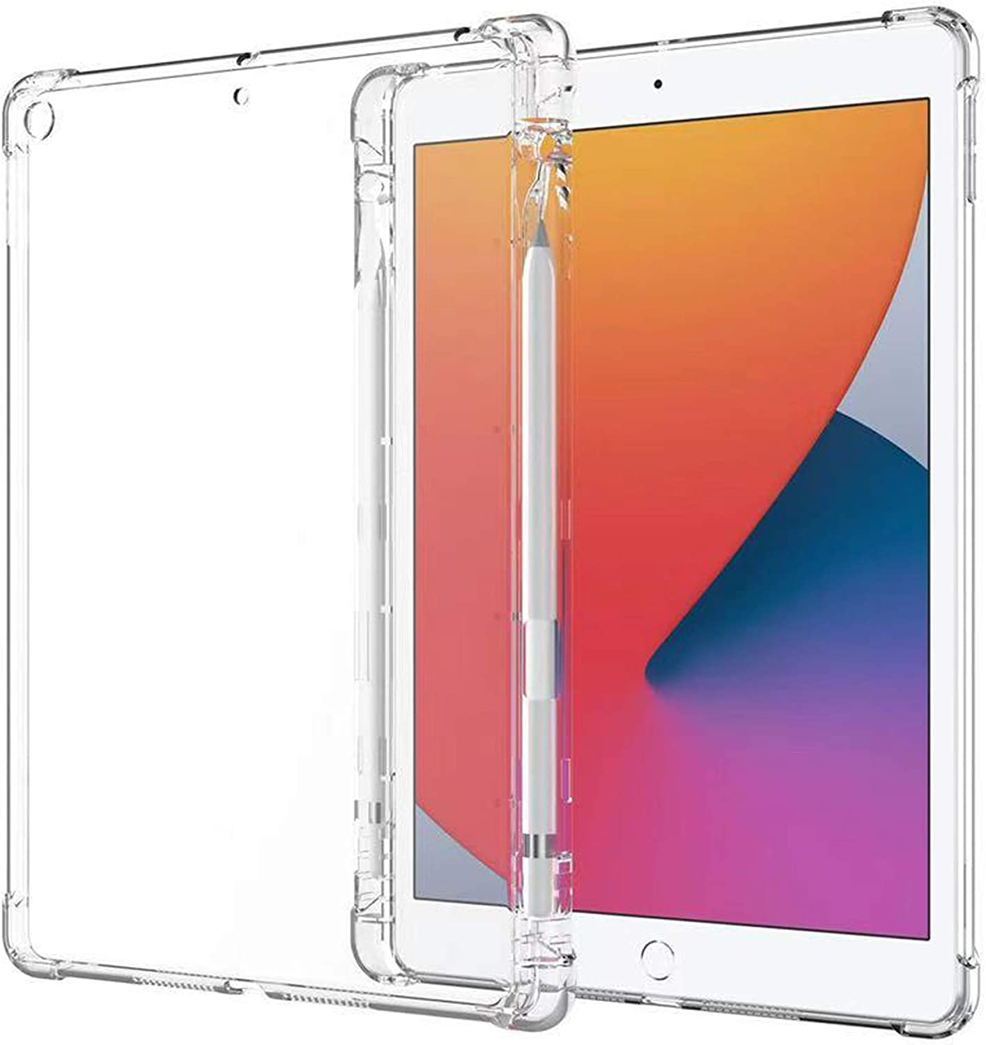 SFFINE Clear Case for iPad 10.2 7th Generation 2019 / 8th Generation 2020 with Pencil Holder, Shockproof Thin Slim Transparent Flexible TPU Gel Silicon Back Cover Protective Shell Fit iPad 10.2 Inch