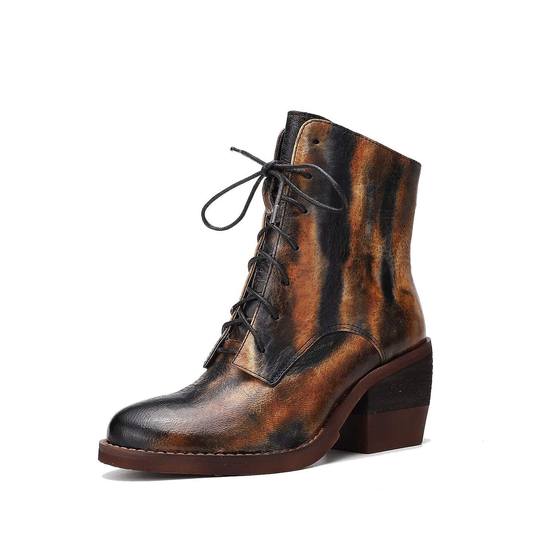 Damen Herbst und Winter High Heel Martin Stiefel mit Schnürung und Reißverschluss Flamme Stiefeletten aus echtem Leder im Vintage-Mode Personalisierte handgefertigte Schuhe