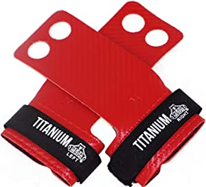 Bear Grips Two Hole Titanium Gymnastics Hand Grip 60% Thinner & 10X Stronger Than Carbon Fiber Grips. Made for Crossfit WOD, Pull ups, T2B, Gymnastic Movements, Olympic Lifting. Size XS-XL. Color: Red