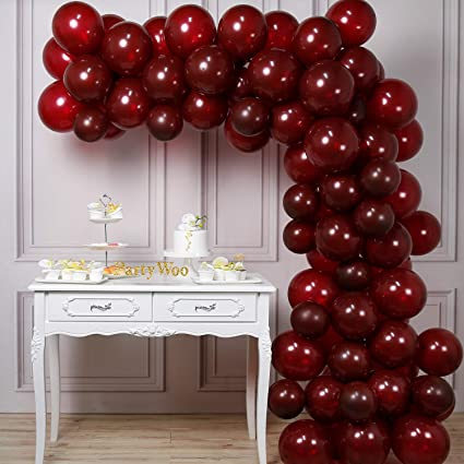 Amazon.com: PartyWoo - Globos de color burdeos (50 unidades ...