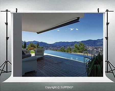 Telón de Fondo de Fotos Moderno de Verano con Paisaje de montaña y Fondo de Piscina 3D para decoración Interior de Estudio fotográfico: Amazon.es: Electrónica