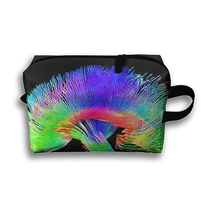 Leisue Colorful Music Science Art Brain Cosmetic Bag Zipper Makeup Accessories Pouch Toiletries Bags Pen Pencil Power Lines Travel Cases Hanging Documents Handbag