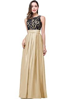 Misshow Womens Sexy Lady Crewneck Lace Long Formal Prom Bridesmaid Dress With Pocket