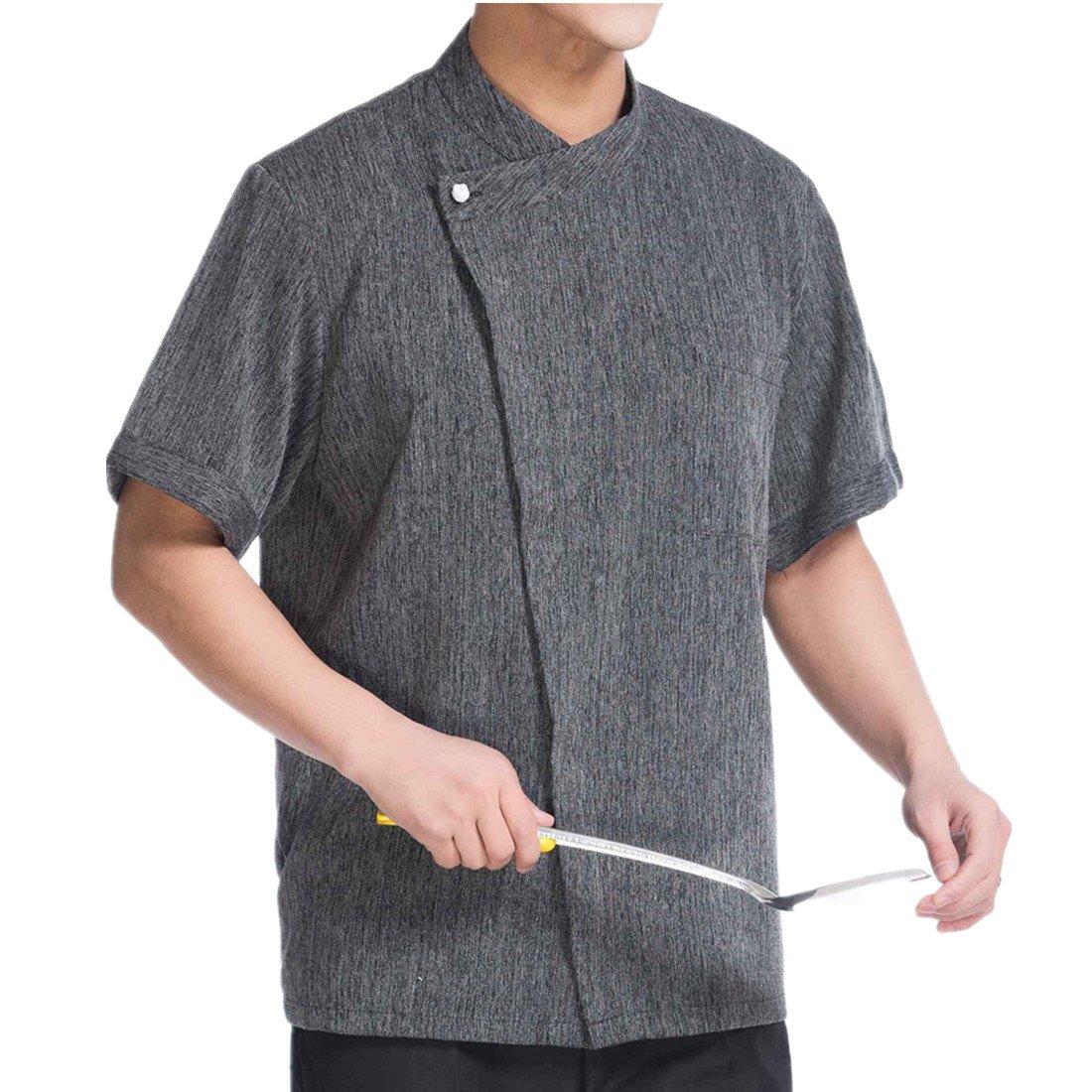 WAIWAIZUI Linen Chef Jackets Waiter Coat Short Sleeves (US: L (Label:XXL)) by WAIWAIZUI