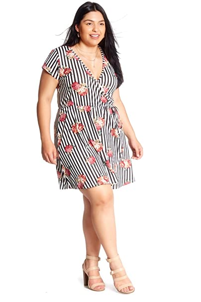 SWEETKIE SS Wrap Dress with Elastics Waist Front, Short Sleeve, Plus Size,  Dresses for Casual Spring & Summer Attire