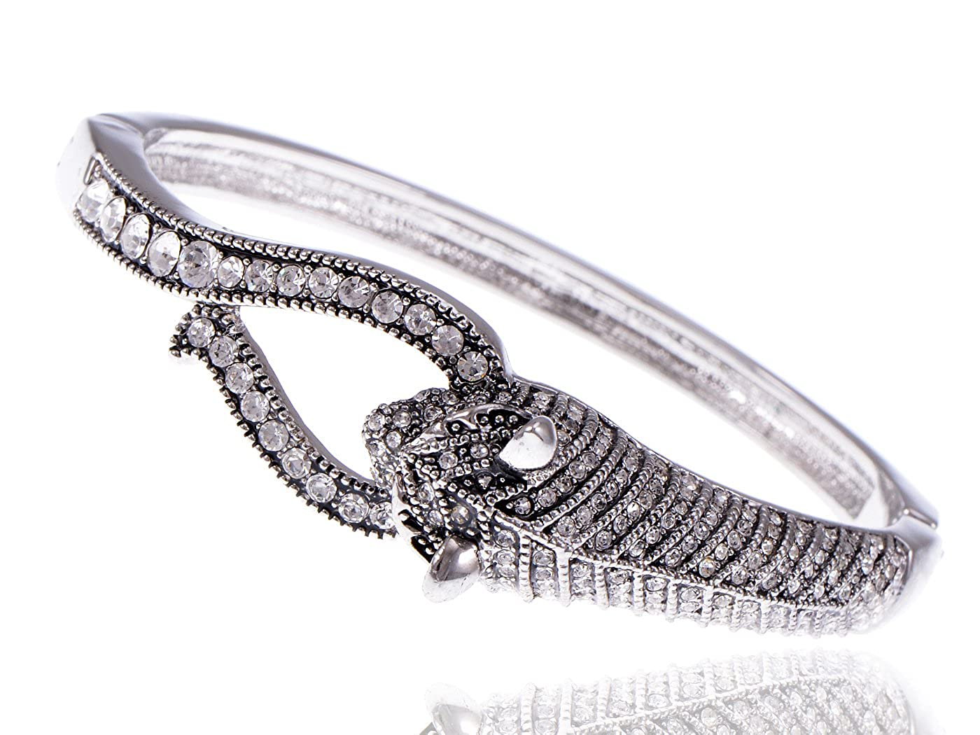 Amazon.com  Alilang Swarovski Crystal Elements Encrusted Fierce Jaguar Head  Fashion Bangle Bracelet  Jewelry d7ee8a66c