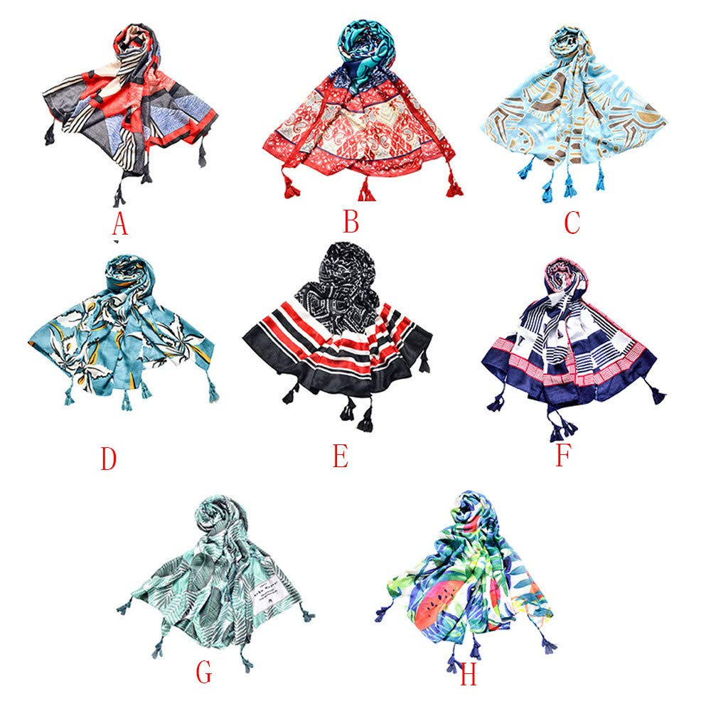 Hot Sale Women Girl Print Casual Tassel Long Holiday Scarves Shawl Wraps Fall Winter Scarf