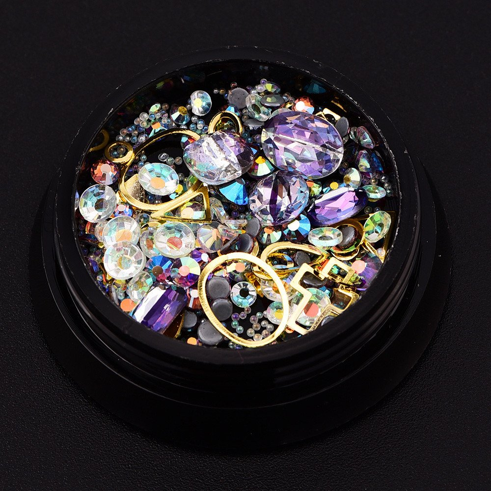 Nail Art Rhinestones Decoration, Mumustar Sparkle Crystal Mixed 3D Gem Stone Diamond Resin Jewels DIY Nail Art Makeup Beauty Design Accessories 03 Mumustar 01